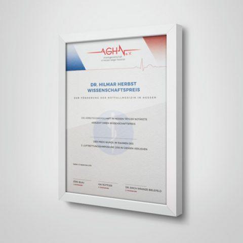 AGHN Urkunde und Logodesign
